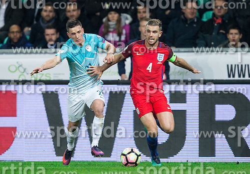 Benjamin Verbic of Slovenia vs Jordan Henderson of England during football match between National teams of Slovenia and England in Round #3 of FIFA World Cup Russia 2018 Qualifier Group F, on October 11, 2016 in SRC Stozice, Ljubljana, Slovenia. Photo by Vid Ponikvar / Sportida
