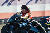 Nov 13, 2016; Pomona, CA, USA; NHRA pro stock motorcycle rider Angelle Sampey during the Auto Club Finals at Auto Club Raceway at Pomona. Mandatory Credit: Mark J. Rebilas-USA TODAY Sports