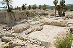 Israel, Jezreel Valley, Tel Megiddo National park, The sacred area with a series of temples built one on top of the other. Megiddo is a tel (hill) made of 26 layers of the ruins of ancient cities in a strategic location at the head of a pass through the Carmel Ridge, which overlooks the Valley of Jezreel from the west.