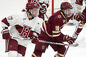 Sean Malone (Harvard - 17), Colin White (BC - 18) - The Harvard University Crimson defeated the visiting Boston College Eagles 5-2 on Friday, November 18, 2016, at Bright-Landry Hockey Center in Boston, Massachusetts.{headline] - The Harvard University Crimson defeated the visiting Boston College Eagles 5-2 on Friday, November 18, 2016, at Bright-Landry Hockey Center in Boston, Massachusetts.