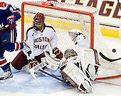 Isaac MacLeod (BC - 7), Brad Barone (BC - 29) - The Boston College Eagles defeated the visiting University of Massachusetts Lowell River Hawks 6-3 on Sunday, October 28, 2012, at Kelley Rink in Conte Forum in Chestnut Hill, Massachusetts.