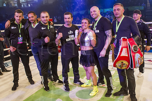 02.10.2015. Hamburg, Germany. Womens World Championship Boxing. WBA, WBO, WIBF Welterweight fight between Susi Kentikian (Germany) and Susana Cruz Perez (Mexico). The happy team of Susi Kentikian
