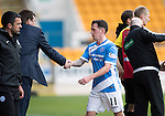St Johnstone v Partick Thistle&hellip;29.10.16..  McDiarmid Park   SPFL<br />Danny Swanson is subbed by Tommy Wright<br />Picture by Graeme Hart.<br />Copyright Perthshire Picture Agency<br />Tel: 01738 623350  Mobile: 07990 594431