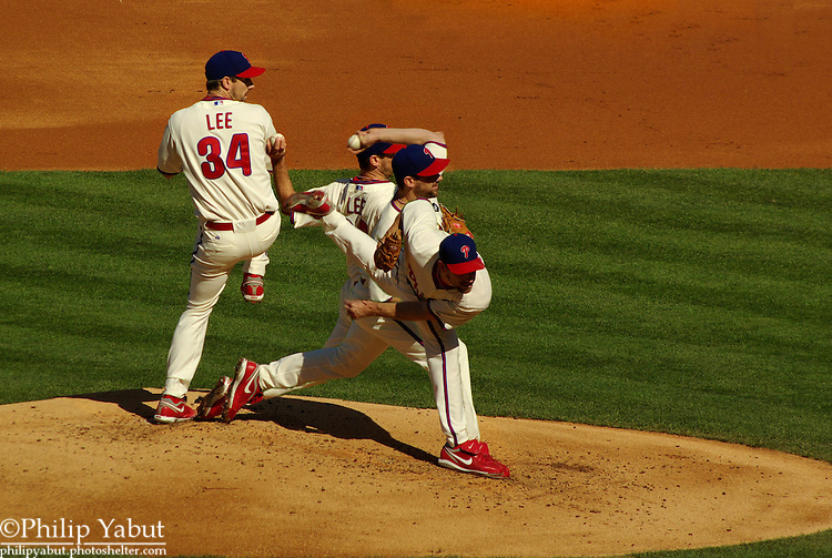 Philadelphia Phillies pitcher Cliff Lee winds up.