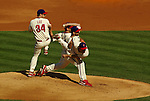 Philadelphia Phillies pitcher Cliff Lee winds up.