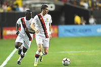 Defender Micah Richards makes an overlapping run behind Adam Johnson. The 2010 Atlanta International Soccer Challenge was held, Wednesday, July 28, at the Georgia Dome, featuring a match between Club America and Manchester City. After regulation time ended 1-1, Manchester City was awarded the victory, winning 4-1, in penalty kicks.