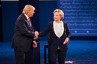 ST LOUIS, MO - OCTOBER 09: Republican presidential nominee Donald Trump shakes hands with Democratic presidential nominee former Secretary of State Hillary Clinton after the town hall debate at Washington University on October 9, 2016 in St Louis, Missouri. This is the second of three presidential debates scheduled prior to the November 8th election.