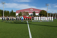 University of South Carolina (white) and University of Michigan (blue) prior to their game in the third round of the NCAA Division I men's soccer championship won by Michigan 3-1