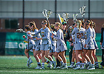 30 March 2016: The University of Vermont Lady Catamount Lacrosse Team breaks from a time out during first half action against the Manhattan College Jaspers at Virtue Field in Burlington, Vermont. The Lady Cats defeated the Jaspers 11-5 in non-conference play. Mandatory Credit: Ed Wolfstein Photo *** RAW (NEF) Image File Available ***