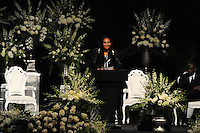 Muhammad Ali's daughter Maryum Ali speaks at the memorial service for her father, boxing legend Muhammad Ali, at the KFC Yum! Center in Louisville, Kentucky on June 10, 2016.  Ali was involved in the planning of the ceremony which included speeches from leaders of numerous faith as well as comedian Billy Crystal and former American President Bill Clinton.