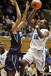 20 December 2011: Duke's Chelsea Gray (12) and UNCW's Ayoola Weaver (32). The Duke University Blue Devils defeated the University of North Carolina Wilmington Seahawks 107-45 at Cameron Indoor Stadium in Durham, North Carolina in an NCAA Division I Women's basketball game.