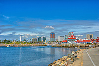 Long Beach, CA, Skyline, Rainbow Harbor, Parker Lighthouse, Pacific Ocean, breakwater, southern coast