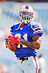 11 September 2005: Willis McGahee, runningback for the Buffalo Bills, rushed for 117 yards in a game against the Houston Texans on September 11, 2005.  The Bills, wearing their 60s throwback uniforms, defeated the Texans 22-7, winning their first game of the season at Ralph Wilson Stadium in Orchard Park, NY.<br />