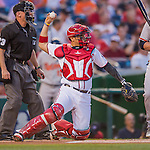 25 August 2016: Washington Nationals catcher Jose Lobaton in action against the Baltimore Orioles at Nationals Park in Washington, DC. The Nationals blanked the Orioles 4-0 to salvage one game of their 4-game home and away series. Mandatory Credit: Ed Wolfstein Photo *** RAW (NEF) Image File Available ***