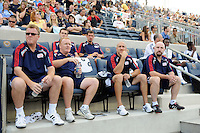 New England Revolution head coach Steve Nicol, assistant coach Stephen Myles, goalkeeper coach Remi Roy, and massage therapist Glenn O'Conn (Front Row L to R). The Philadelphia Union and the New England Revolution  played to a 1-1 tie during a Major League Soccer (MLS) match at PPL Park in Chester, PA, on July 31, 2010.