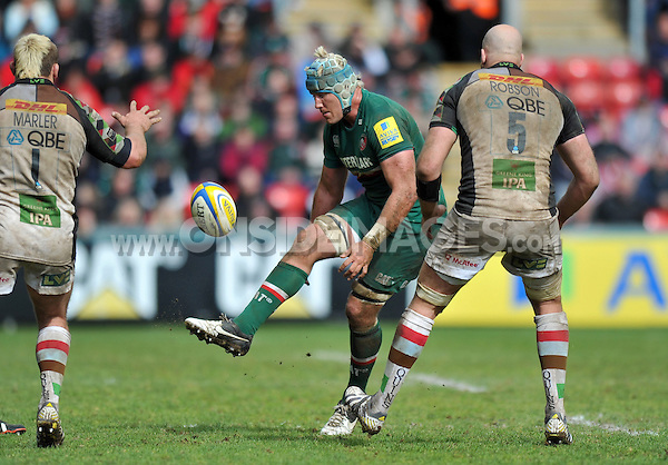 Jordan Crane puts boot to ball. Aviva Premiership semi final, between Leicester Tigers and Harlequins on May 11, 2013 at Welford Road in Leicester, England. Photo by: Patrick Khachfe / Onside Images