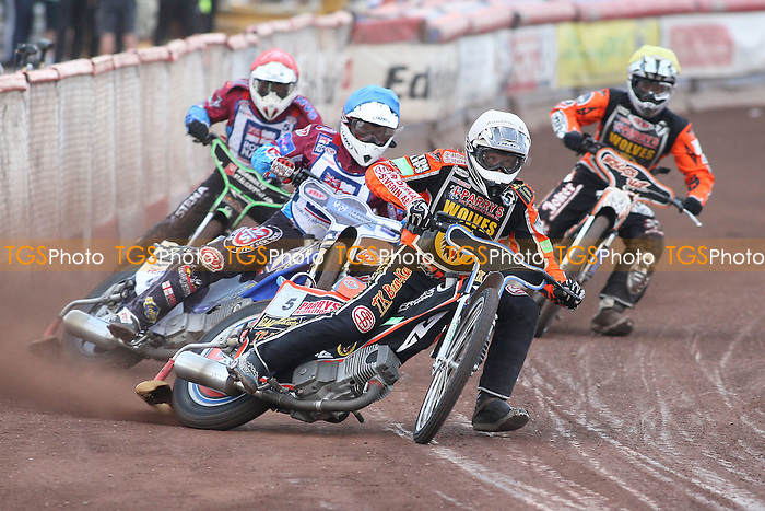 Heat 4: Peter Karlsson (white), Stuart Robson (blue),  Peter Ljung (red) and Ricky Wells - Lakeside Hammers vs Wolverhampton Wolves - Elite League Speedway at Arena Essex Raceway - 16/05/11 - MANDATORY CREDIT: Gavin Ellis/TGSPHOTO - Self billing applies where appropriate - Tel: 0845 094 6026