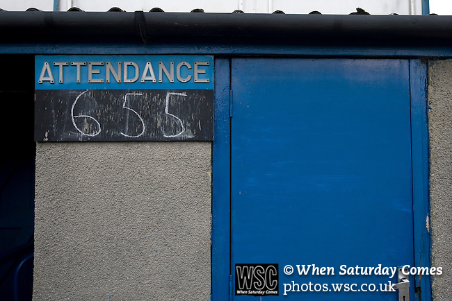 Matlock Town 0 Eastwood Town 3, 09/10/2010. Causeway Lane, FA Cup 3rd qualifying round. A chalkboard sign inside the stadium advertising the attendance for the FA Cup 3rd qualifying round tie between Matlock Town and Eastwood Town at Causeway Lane, Matlock. The visitors from Nottingham who play one division higher than Matlock won by three goals to nil to move to within one round of the FA Cup 1st round proper. The match was watched by 655 spectators. Photo by Colin McPherson.