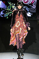 Anna walks runway in a Melt with You outfit, from the Betsey Johnson Fall 2011 He Loves Me Not - Black Tag collection, during Mercedes-Benz Fashion Week Fall 2011.