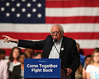 MIAMI, FL - APRIL 19: Sen. Bernie Sanders speaks during a 'Come Together and Fight Back' tour at the James L Knight Center on April 19, 2017 in Miami Florida. <br /> CAP/MPI04<br /> &copy;MPI04/Capital Pictures