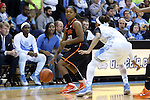 19 November 2014: Oklahoma State's Roshunda Johnson (00) and North Carolina's Latifah Coleman (2). The University of North Carolina Tar Heels hosted the Oklahoma State University Cowgirls at Carmichael Arena in Chapel Hill, North Carolina in a 2014-15 NCAA Division I Women's Basketball game. UNC won the game 79-77.