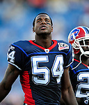 3 September 2009:  Buffalo Bills' linebacker Nic Harris warms up prior to a pre-season game against the Detroit Lions at Ralph Wilson Stadium in Orchard Park, New York. The Lions defeated the Bills 17-6...Mandatory Photo Credit: Ed Wolfstein Photo