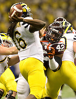 J.R. Collins of Virginia Tech in action during Sugar Bowl game against Michigan at Mercedes-Benz SuperDome in New Orleans, Louisiana on January 3rd, 2012.  Michigan defeated Virginia Tech, 23-20 in first overtime.