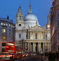 St Paul's Cathedral, London, UK, 1675-1710, by architect Sir Christopher Wren. The 111 metre high dome and twin towers peep over the surrounding buildings. Picture by Manuel Cohen