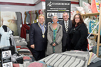 from left, Mayor Ray Wallace, Cheryl Eldridge, Trevor Mallard and Andrea Leader, New Zealand Eco Fashion Exposed Opening Function at 151 High Street, Lower Hutt, New Zealand on Wednesday 23 July 2014. <br /> Photo by Masanori Udagawa. <br /> www.photowellington.photoshelter.com.