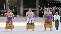 "Hakuho, Tokyo, Japan, January 6, 2012 :(L-R)Aminishiki, Mongolian grand sumo champion Yokozuna Hakuho, Mongolian Kyokutenho perform during  the ""ring entering ceremony"" for dedication at Meiji Shrine, Tokyo, Japan, on January 6, 2012. (Photo by AFLO)"