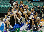 Blue Devil Cheerleaders pose for a photo after the net-cutting ceremony. (Photo by Rob Rowe)