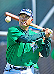 30 June 2012: Vermont Lake Monsters Juan Navarrete taps out grounders prior to a game against the Lowell Spinners at Centennial Field in Burlington, Vermont. Mandatory Credit: Ed Wolfstein Photo