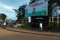 Near Makerere University, a billboard advertisese Nokia's Ovi service, which provides email and web services to phone and web, whilst Orange competes with bus shelter advertising.