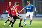 St Johnstone v FC Spartak Trnava...31.07.14  Europa League 3rd Round Qualifier<br /> David Wotherspoon is closed down by Matej Siva and Marek Janecka<br /> Picture by Graeme Hart.<br /> Copyright Perthshire Picture Agency<br /> Tel: 01738 623350  Mobile: 07990 594431