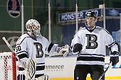 Branden Komm (Bentley - 30), Zach Marginsky (Bentley - 19) - The Bentley University Falcons defeated the College of the Holy Cross Crusaders 3-2 on Saturday, December 28, 2013, at Fenway Park in Boston, Massachusetts.