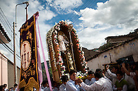 The image of St. Clare is taken in procession on Tuesday during the Holy Week celebrations in Ayacucho, Peru.