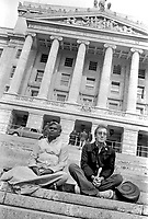 During one day visit to N Ireland Peter Sellers and Swami Vishnudevananda took time to meditate on the step of the N Ireland Parliament. 8th September 1971.  197204000023 <br />