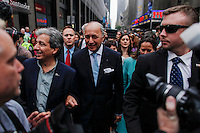 New York City, NY. 21 September 2014. French Foreign Minister Laurent Fabius takes part in the 'People's Climate March'  making it the largest climate march in history. Photo by Kena Betancur/VIEWpress