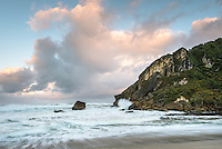 Dawn on beach at Kohaihai near Karamea, West Coast, Buller Region, Kahurangi National Park, New Zealand