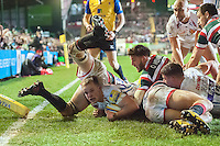 Stuart Townsend of Exeter Chiefs scores a try in the corner. Aviva Premiership match, between Leicester Tigers and Exeter Chiefs on March 3, 2017 at Welford Road in Leicester, England. Photo by: Patrick Khachfe / JMP