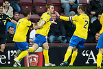 Hearts v St Johnstone...03.12.11   SPL .Liam Craig celebrates his goal with Chris Millar and Dave Mackay.Picture by Graeme Hart..Copyright Perthshire Picture Agency.Tel: 01738 623350  Mobile: 07990 594431