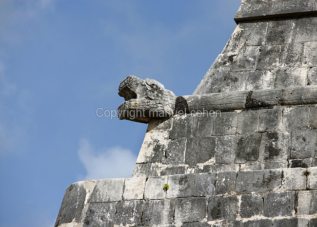 Detail of the bas-relief depicting a serpent, Temple of the Jaguars, southern end of the east platform of the court of the Game of Ball, 900-1100 AD, Toltec Architecture, Chichen Itza, Yucatan, Mexico. The temple was also used as the grandstand for the more important spectators. Picture by Manuel Cohen