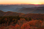 Autumn vista to the Cowee Mountains, as viewed from the Blue Ridge Parkway