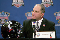 31 December 2009: Cincinnati interim head coach Jeff Quinn talks to the press during Sugar Bowl Press Conference at the Marriott Hotel in New Orleans, Louisiana.