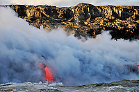 Steam rising off lava flowing into ocean, Kilauea Volcano, Hawaii Islands, United States