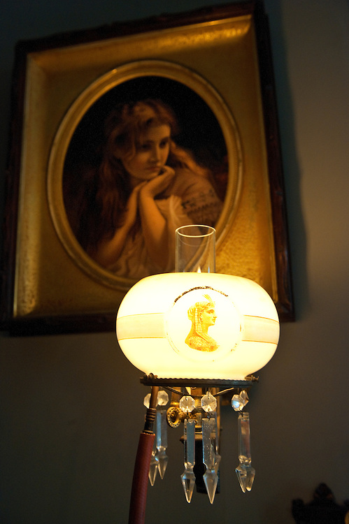 A gas lamp burns in the home of Dan Mattausch expert in historic lighting. The gas lamp is in his home at  260 Maryland Avenue Northeast in Washington, D.C. 2010.