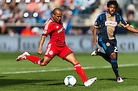 Robert Earnshaw (10) of Toronto FC takes a shot during a Major League Soccer (MLS) match against the Philadelphia Union at PPL Park in Chester, PA, on April13, 2013.