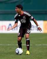 Christian Castillo (12) of D.C. United looks for a teammate at RFK Stadium in Washington, DC.  The New York Red Bulls defeated D.CC United, 2-0.