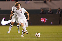 USA's Mixx Diskerud (16) passes of the ball. US Men's National team played the National team of Chile to 1-1 draw at Home Depot Center stadium in Carson, California on Saturday January 22, 2010.