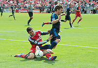 15 September 2012: Philadelphia Union forward Antoine Hoppenot #29 and Toronto FC defender Logan Emory #2 in action during an MLS game between the Philadelphia Union and Toronto FC at BMO Field in Toronto, Ontario Canada. .The game ended in a 1-1 draw.